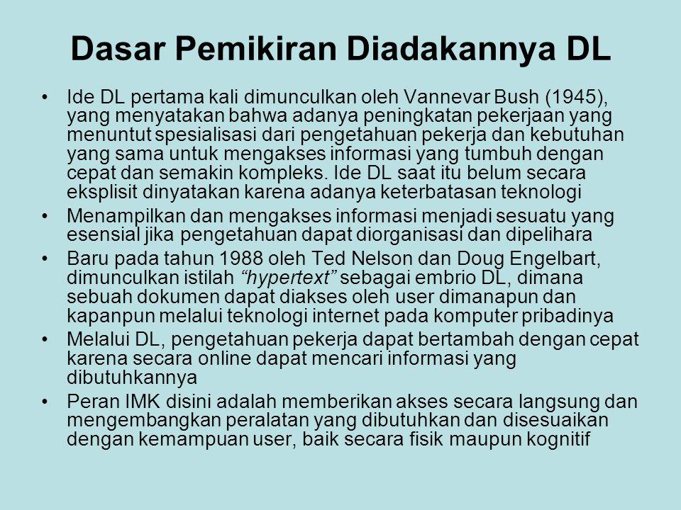Dasar Pemikiran Diadakannya DL Ide DL pertama kali dimunculkan oleh Vannevar Bush (1945), yang menyatakan bahwa adanya peningkatan pekerjaan yang menu