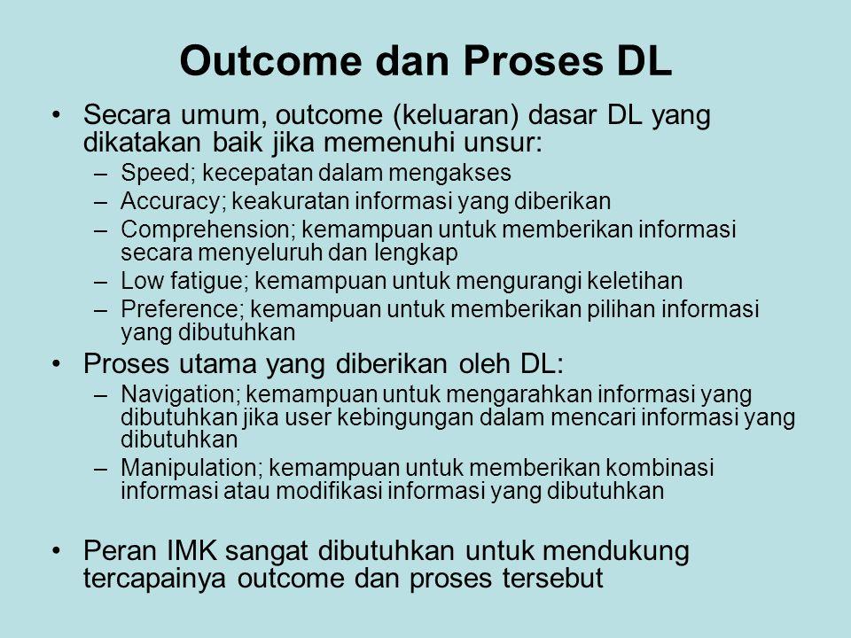 Outcome dan Proses DL Secara umum, outcome (keluaran) dasar DL yang dikatakan baik jika memenuhi unsur: –Speed; kecepatan dalam mengakses –Accuracy; k