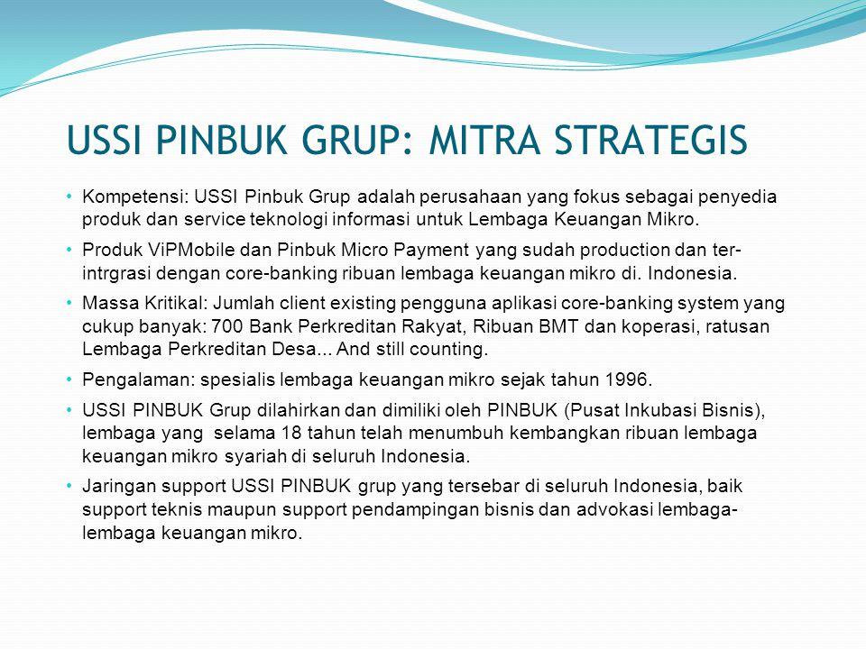 USSI PINBUK GRUP: MITRA STRATEGIS Kompetensi: USSI Pinbuk Grup adalah perusahaan yang fokus sebagai penyedia produk dan service teknologi informasi untuk Lembaga Keuangan Mikro.