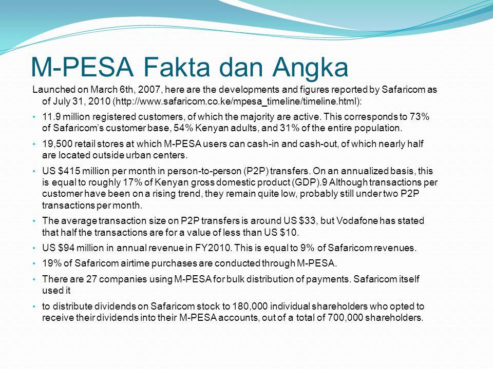 Key Success Factors M-PESA Banyak studi yang sudah dilakukan untuk memahami, kenapa M-PESA sedemikian sukses di Kenya.