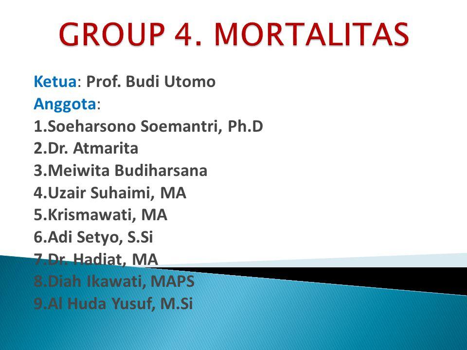Ketua: Prof. Budi Utomo Anggota: 1.Soeharsono Soemantri, Ph.D 2.Dr. Atmarita 3.Meiwita Budiharsana 4.Uzair Suhaimi, MA 5.Krismawati, MA 6.Adi Setyo, S