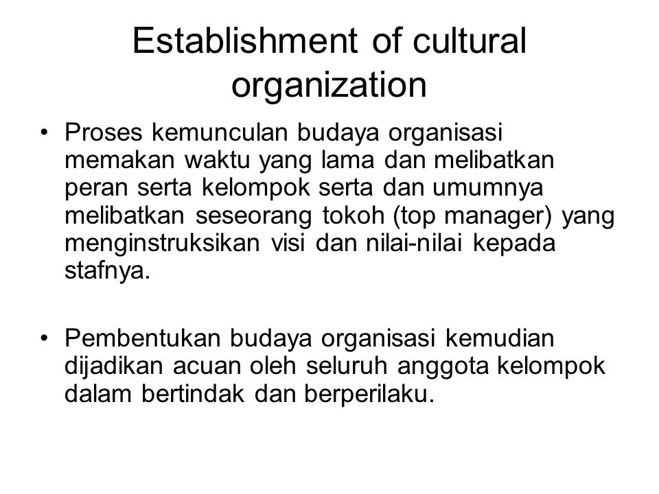 Aspects that establish organizational culture Top management Socialization / publication Organizational culture Selection criteria Philosophy of founders
