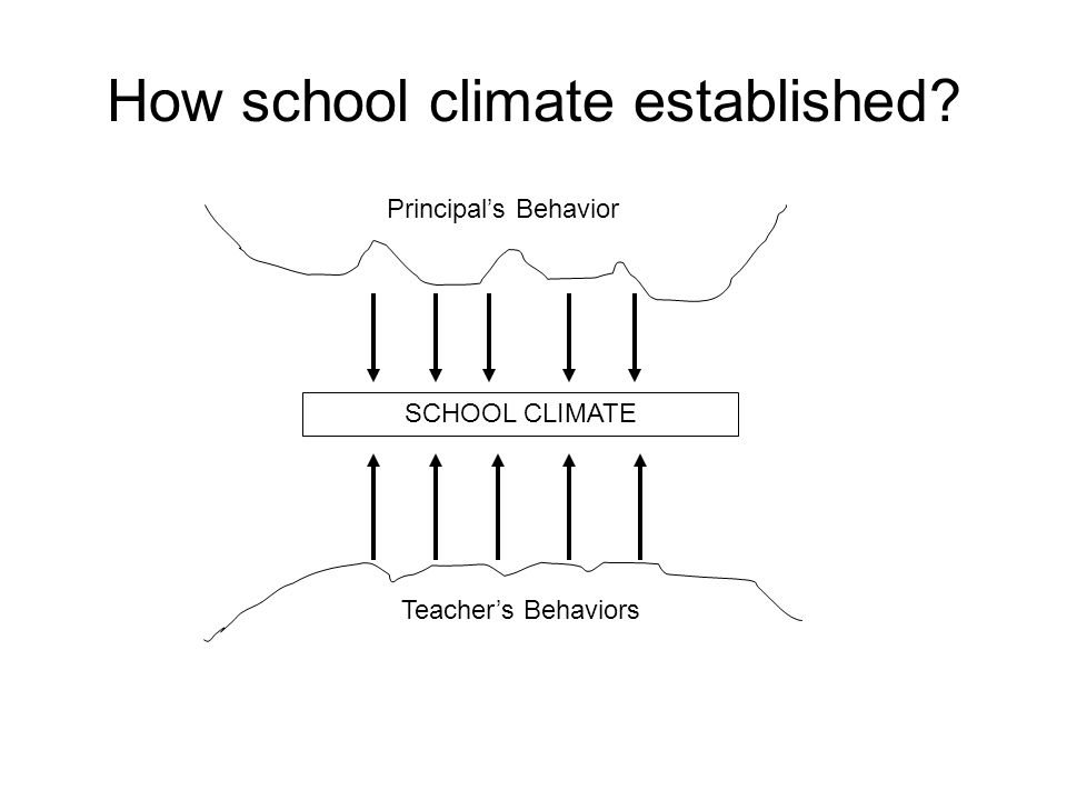 How school climate established Principal's Behavior SCHOOL CLIMATE Teacher's Behaviors