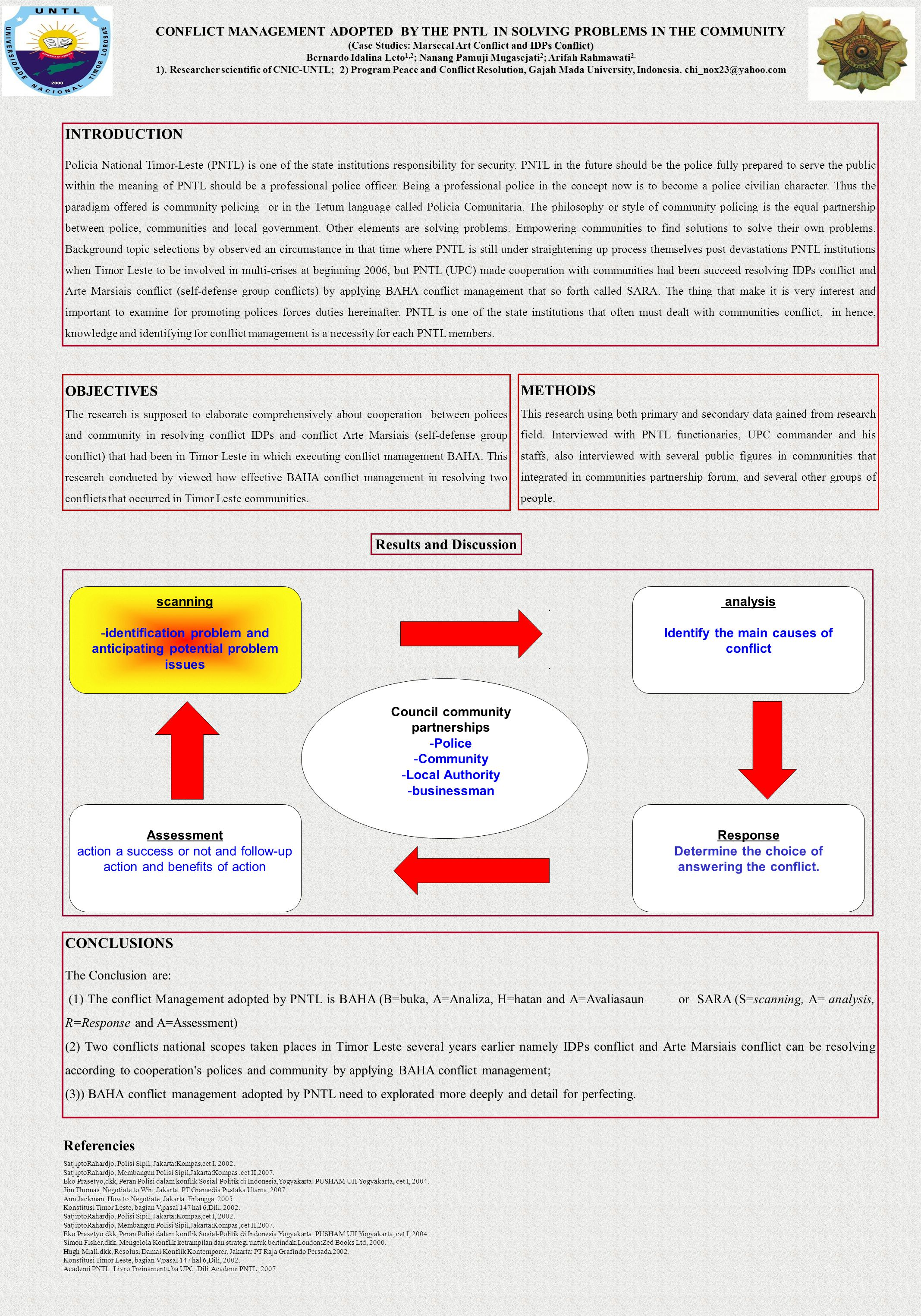 CONFLICT MANAGEMENT ADOPTED BY THE PNTL IN SOLVING PROBLEMS IN THE COMMUNITY s Conflict) (Case Studies: Marsecal Art Conflict and IDPs Conflict) Berna