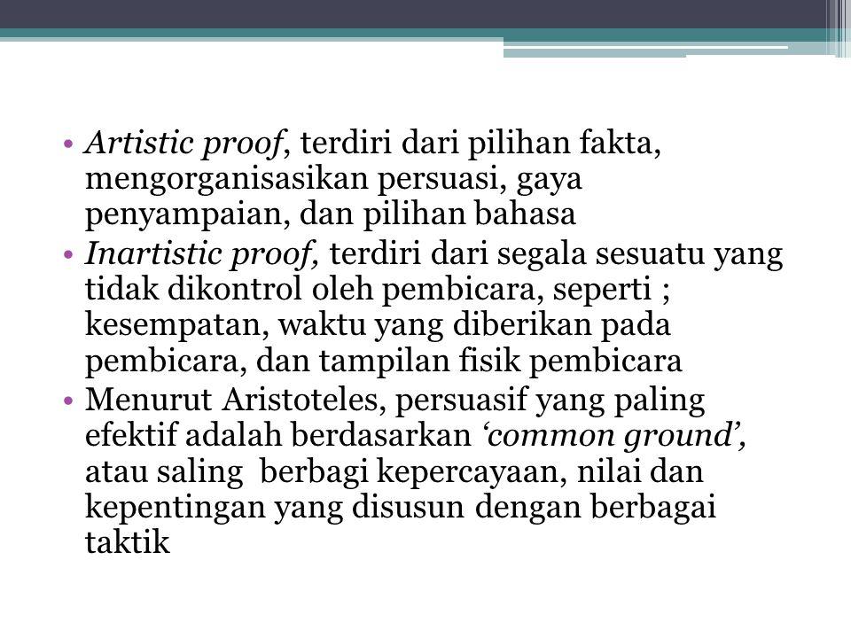 Artistic proof, terdiri dari pilihan fakta, mengorganisasikan persuasi, gaya penyampaian, dan pilihan bahasa Inartistic proof, terdiri dari segala ses