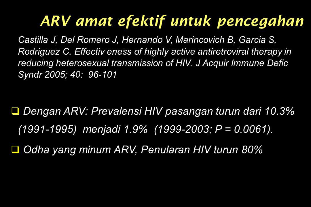 ARV amat efektif untuk pencegahan Castilla J, Del Romero J, Hernando V, Marincovich B, Garcia S, Rodriguez C. Effectiv eness of highly active antiretr