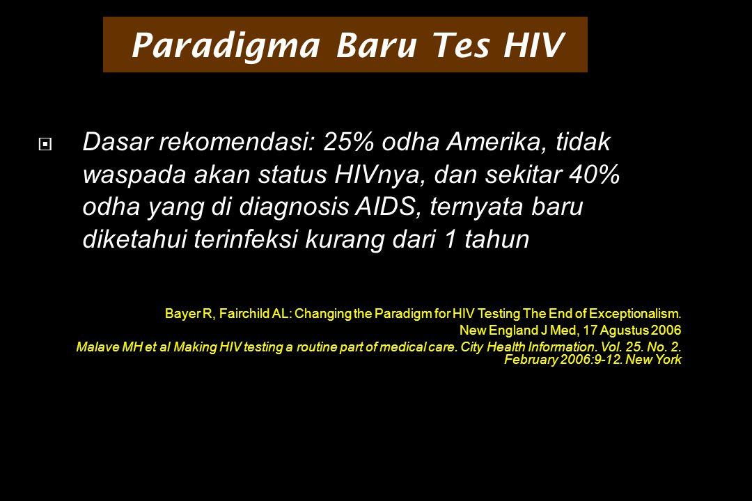 Paradigma Baru Tes HIV  Dasar rekomendasi: 25% odha Amerika, tidak waspada akan status HIVnya, dan sekitar 40% odha yang di diagnosis AIDS, ternyata baru diketahui terinfeksi kurang dari 1 tahun Bayer R, Fairchild AL: Changing the Paradigm for HIV Testing The End of Exceptionalism.