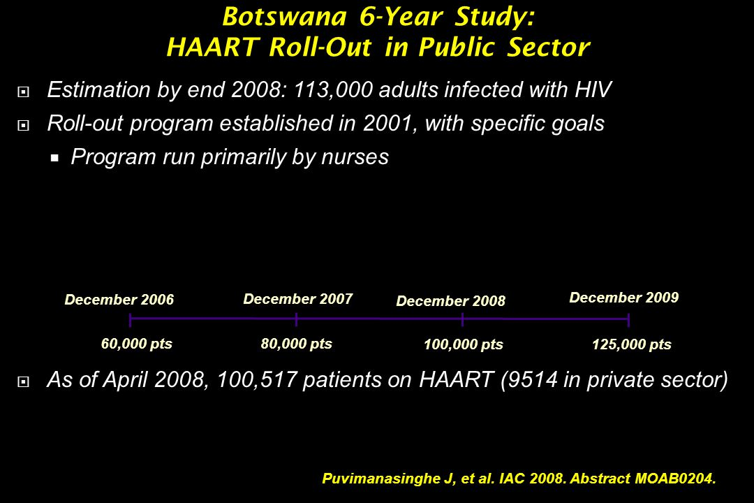 Botswana 6-Year Study: HAART Roll-Out in Public Sector  Estimation by end 2008: 113,000 adults infected with HIV  Roll-out program established in 20