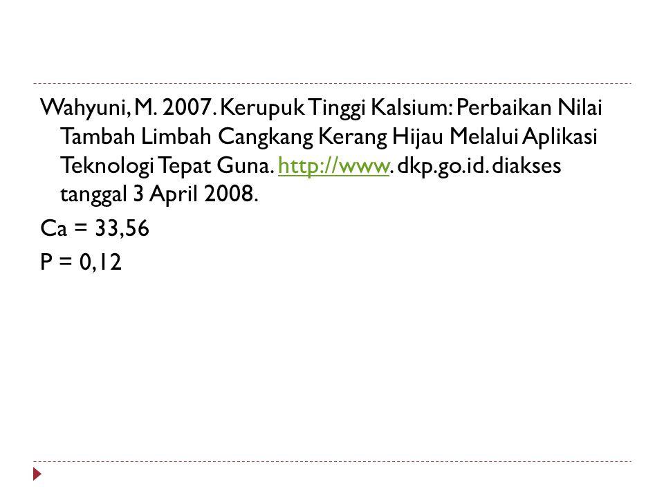 Wahyuni, M. 2007. Kerupuk Tinggi Kalsium: Perbaikan Nilai Tambah Limbah Cangkang Kerang Hijau Melalui Aplikasi Teknologi Tepat Guna. http://www. dkp.g