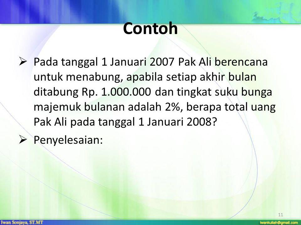 11 Contoh  Pada tanggal 1 Januari 2007 Pak Ali berencana untuk menabung, apabila setiap akhir bulan ditabung Rp. 1.000.000 dan tingkat suku bunga maj
