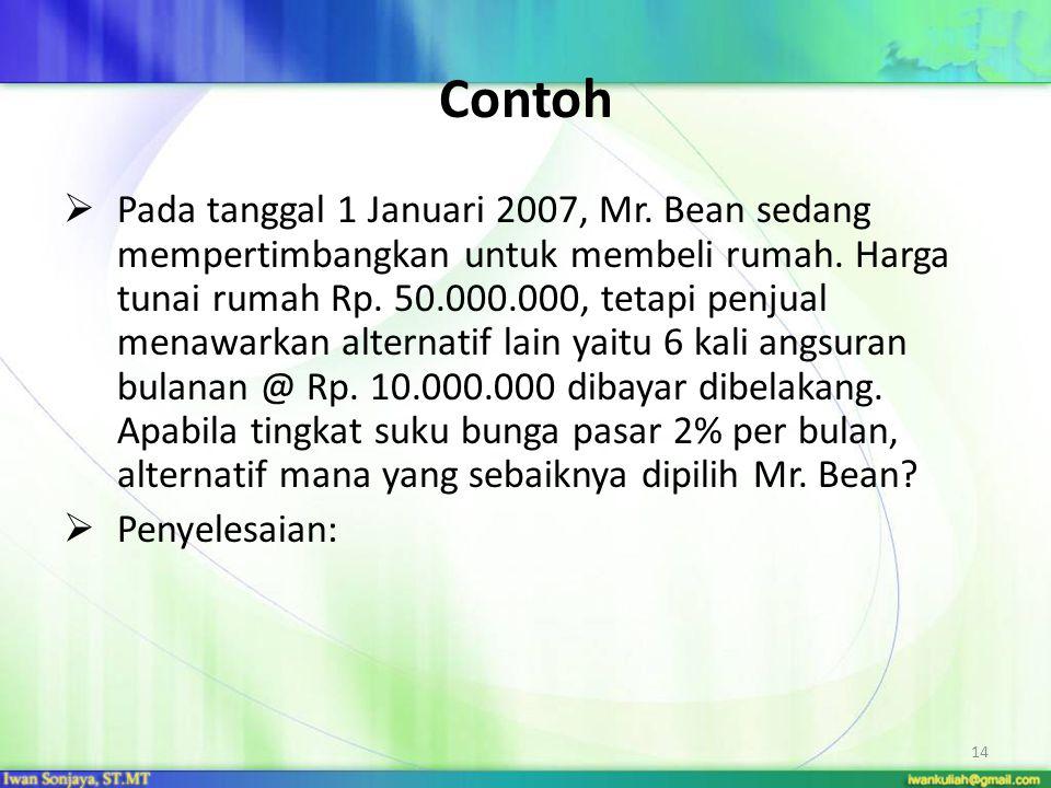 14 Contoh  Pada tanggal 1 Januari 2007, Mr. Bean sedang mempertimbangkan untuk membeli rumah. Harga tunai rumah Rp. 50.000.000, tetapi penjual menawa