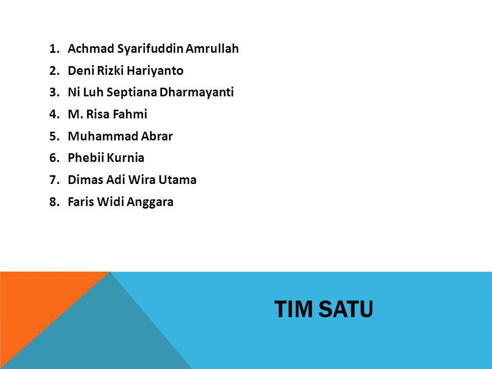 TIM SATU 1.Achmad Syarifuddin Amrullah 2.Deni Rizki Hariyanto 3.Ni Luh Septiana Dharmayanti 4.M. Risa Fahmi 5.Muhammad Abrar 6.Phebii Kurnia 7.Dimas A