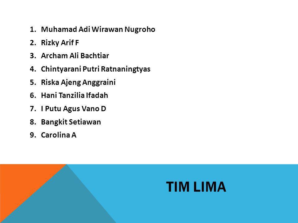 TIM LIMA 1.Muhamad Adi Wirawan Nugroho 2.Rizky Arif F 3.Archam Ali Bachtiar 4.Chintyarani Putri Ratnaningtyas 5.Riska Ajeng Anggraini 6.Hani Tanzilia