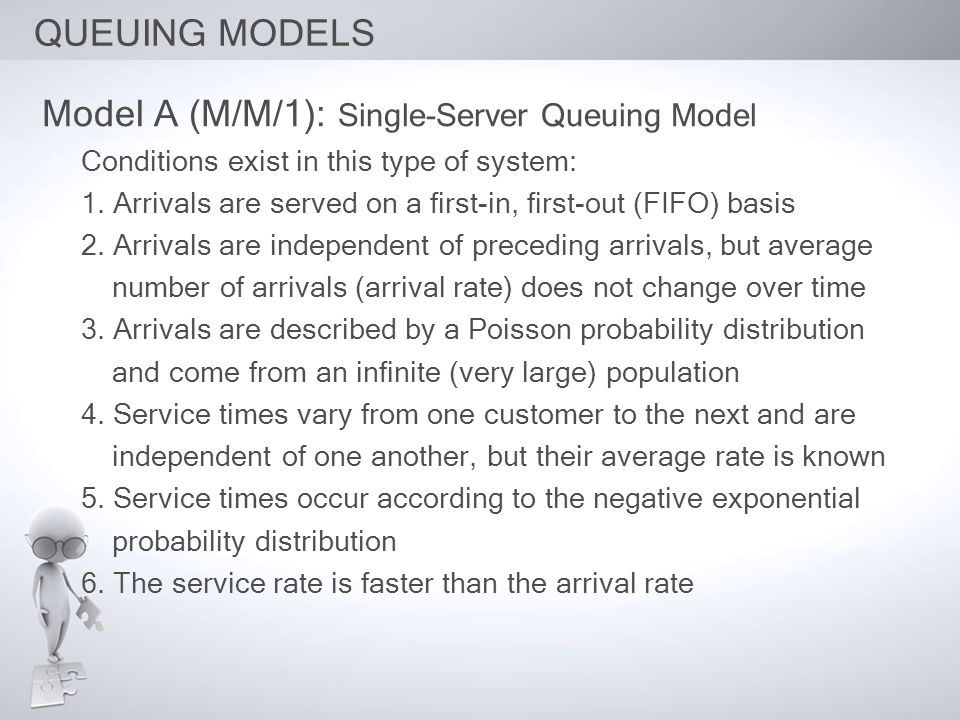 Model A (M/M/1): Single-Server Queuing Model Conditions exist in this type of system: 1. Arrivals are served on a first-in, first-out (FIFO) basis 2.