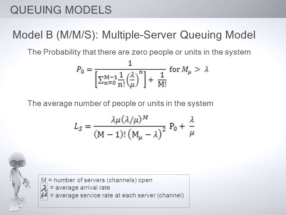 Model B (M/M/S): Multiple-Server Queuing Model The Probability that there are zero people or units in the system The average number of people or units in the system M = number of servers (channels) open = average arrival rate = average service rate at each server (channel)