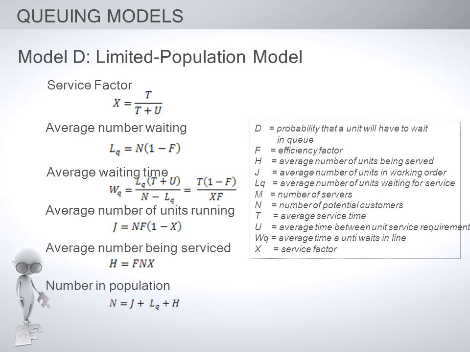 QUEUING MODELS Model D: Limited-Population Model Service Factor Average number waiting Average waiting time Average number of units running Average nu