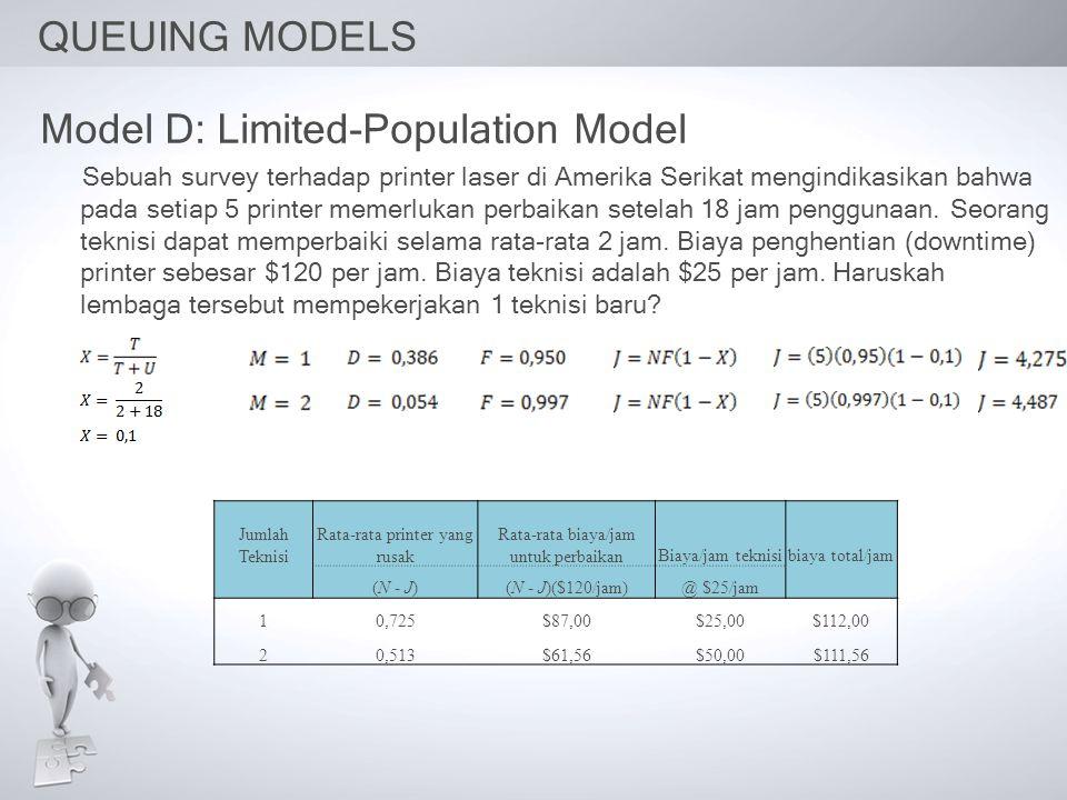 QUEUING MODELS Model D: Limited-Population Model Sebuah survey terhadap printer laser di Amerika Serikat mengindikasikan bahwa pada setiap 5 printer memerlukan perbaikan setelah 18 jam penggunaan.