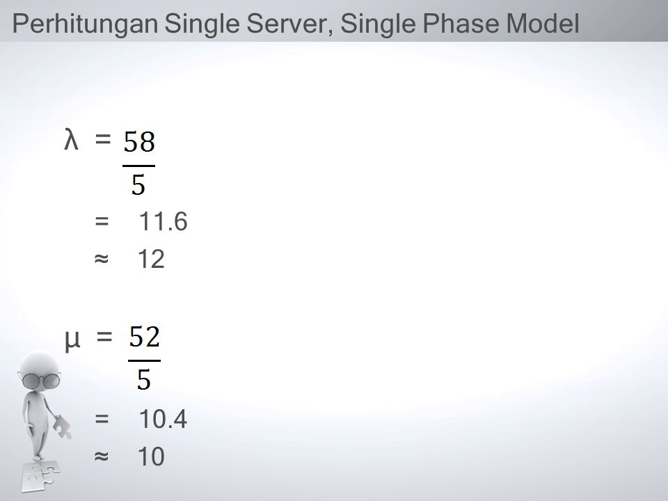 Perhitungan Single Server, Single Phase Model λ = = 11.6 ≈ 12 µ = = 10.4 ≈ 10