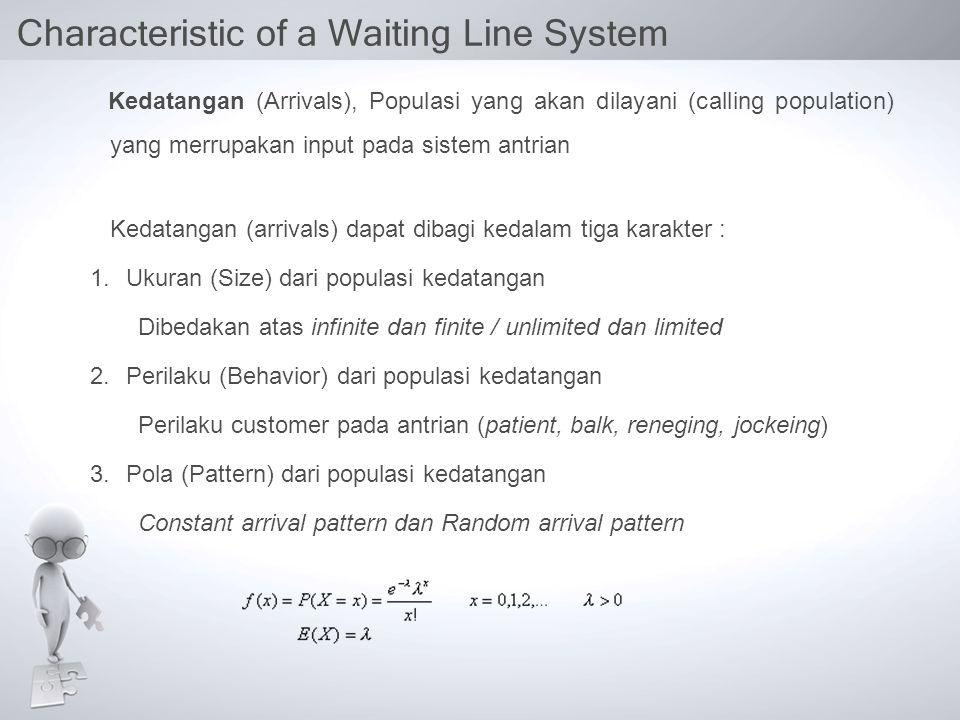 Characteristic of a Waiting Line System Kedatangan (Arrivals), Populasi yang akan dilayani (calling population) yang merrupakan input pada sistem antrian Kedatangan (arrivals) dapat dibagi kedalam tiga karakter : 1.Ukuran (Size) dari populasi kedatangan Dibedakan atas infinite dan finite / unlimited dan limited 2.Perilaku (Behavior) dari populasi kedatangan Perilaku customer pada antrian (patient, balk, reneging, jockeing) 3.Pola (Pattern) dari populasi kedatangan Constant arrival pattern dan Random arrival pattern