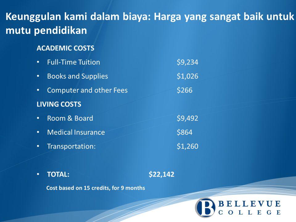 Keunggulan kami dalam biaya: Harga yang sangat baik untuk mutu pendidikan