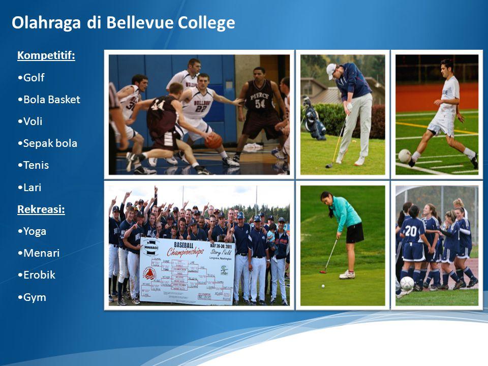Kompetitif: Golf Bola Basket Voli Sepak bola Tenis Lari Rekreasi: Yoga Menari Erobik Gym Olahraga di Bellevue College