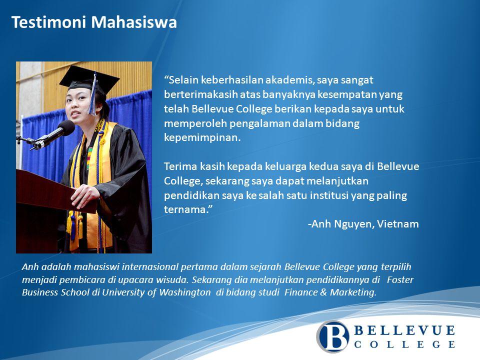Selain keberhasilan akademis, saya sangat berterimakasih atas banyaknya kesempatan yang telah Bellevue College berikan kepada saya untuk memperoleh pengalaman dalam bidang kepemimpinan.