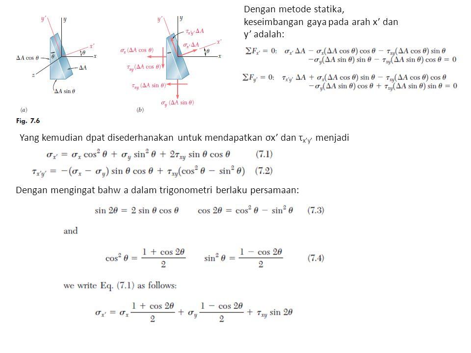 Dengan metode statika, keseimbangan gaya pada arah x' dan y' adalah: Yang kemudian dpat disederhanakan untuk mendapatkan σx' dan τ x'y' menjadi Dengan mengingat bahw a dalam trigonometri berlaku persamaan: