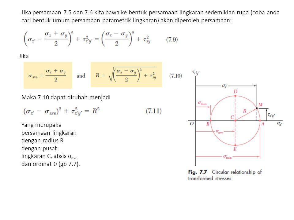 Jika persamaan 7.5 dan 7.6 kita bawa ke bentuk persamaan lingkaran sedemikian rupa (coba anda cari bentuk umum persamaan parametrik lingkaran) akan diperoleh persamaan: Jika Maka 7.10 dapat dirubah menjadi Yang merupaka persamaan lingkaran dengan radius R dengan pusat lingkaran C, absis σ ave dan ordinat 0 (gb 7.7).