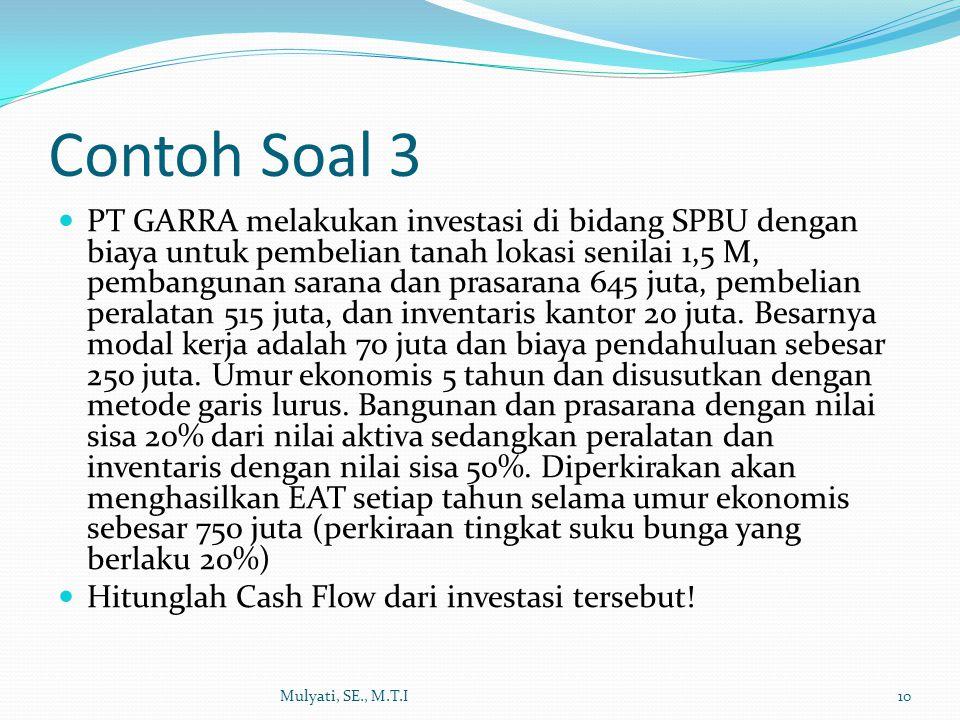 Contoh Soal 3 PT GARRA melakukan investasi di bidang SPBU dengan biaya untuk pembelian tanah lokasi senilai 1,5 M, pembangunan sarana dan prasarana 64