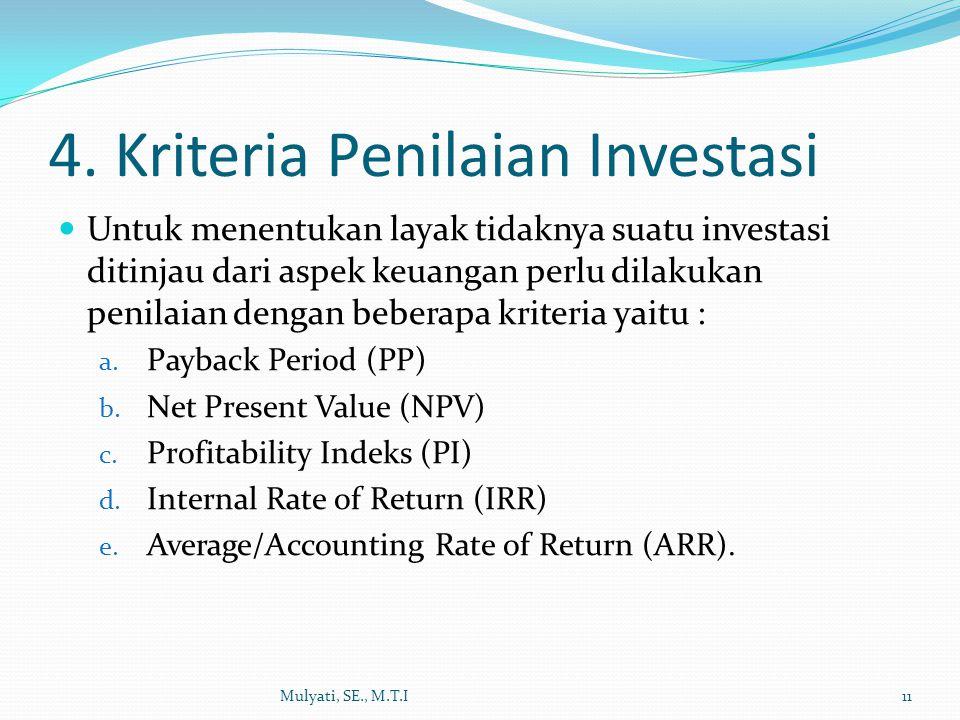 4. Kriteria Penilaian Investasi Untuk menentukan layak tidaknya suatu investasi ditinjau dari aspek keuangan perlu dilakukan penilaian dengan beberapa