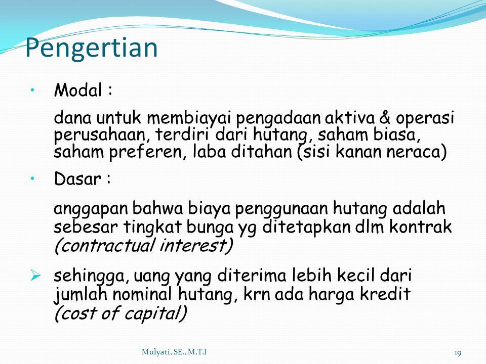 Pengertian Mulyati, SE., M.T.I19 Modal : dana untuk membiayai pengadaan aktiva & operasi perusahaan, terdiri dari hutang, saham biasa, saham preferen,