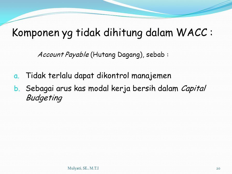 Mulyati, SE., M.T.I20 Account Payable (Hutang Dagang), sebab : a. Tidak terlalu dapat dikontrol manajemen b. Sebagai arus kas modal kerja bersih dalam