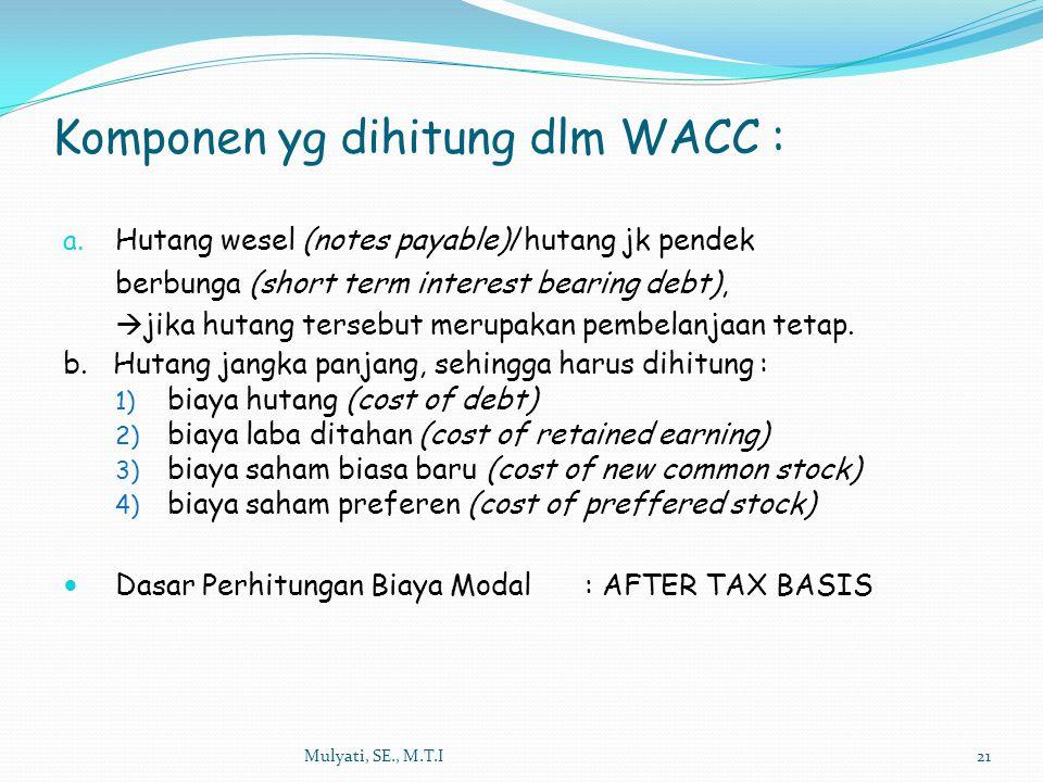 Mulyati, SE., M.T.I21 a. Hutang wesel (notes payable)/hutang jk pendek berbunga (short term interest bearing debt),  jika hutang tersebut merupakan p