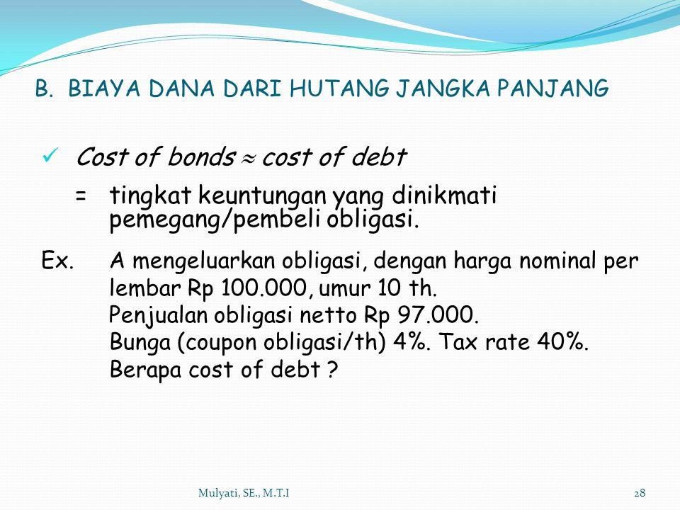Mulyati, SE., M.T.I28 B. BIAYA DANA DARI HUTANG JANGKA PANJANG Cost of bonds  cost of debt = tingkat keuntungan yang dinikmati pemegang/pembeli oblig