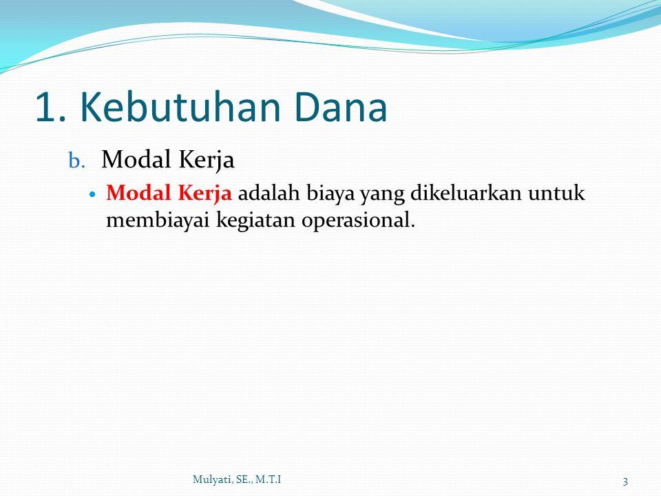 1. Kebutuhan Dana b. Modal Kerja Modal Kerja adalah biaya yang dikeluarkan untuk membiayai kegiatan operasional. Mulyati, SE., M.T.I3