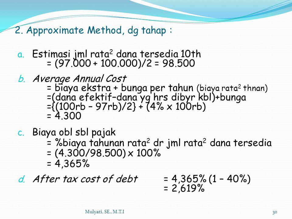 Mulyati, SE., M.T.I30 a. Estimasi jml rata 2 dana tersedia 10th = (97.000 + 100.000)/2 = 98.500 b. Average Annual Cost = biaya ekstra + bunga per tahu
