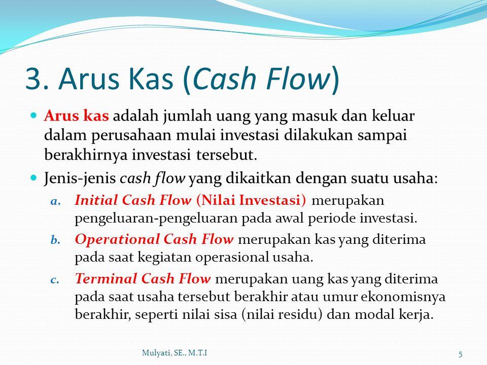 Operational Cash Flow Mulyati, SE., M.T.I6 Operational Cash Flow dihitung dengan rumus: Bila investasi tanpa menggunakan hutang, maka: OCF = EAT + Penyusutan Bila investasi dengan menggunakan hutang, maka: OCF = EAT + Penyusutan + Bunga (1-Tax)