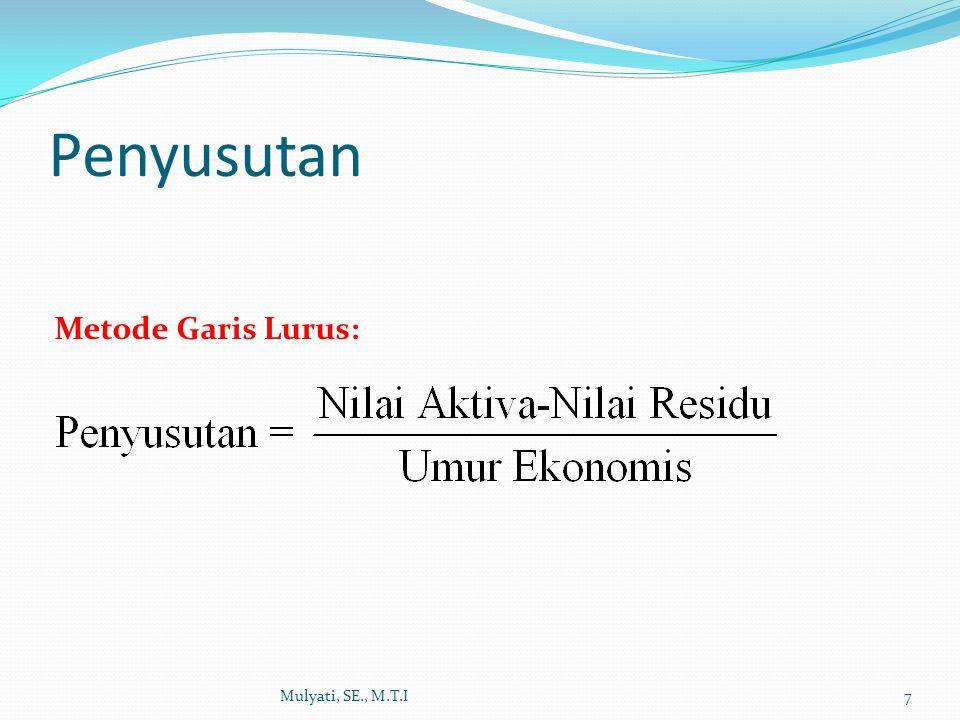 Penyusutan Mulyati, SE., M.T.I7 Metode Garis Lurus: