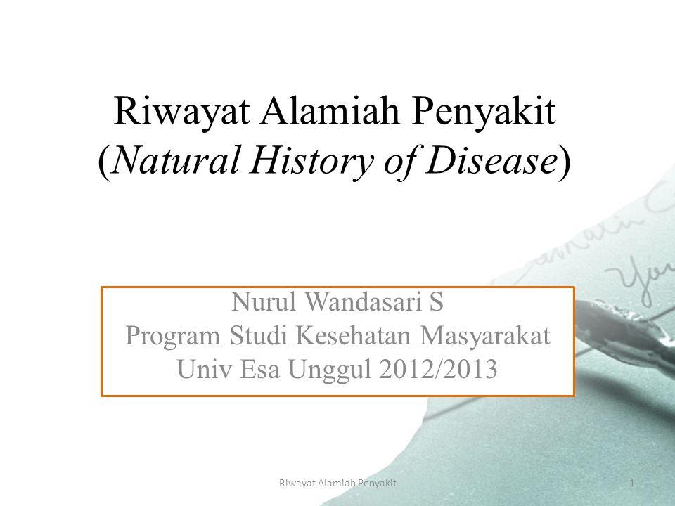 Riwayat Alamiah Penyakit1 Riwayat Alamiah Penyakit (Natural History of Disease) Nurul Wandasari S Program Studi Kesehatan Masyarakat Univ Esa Unggul 2012/2013