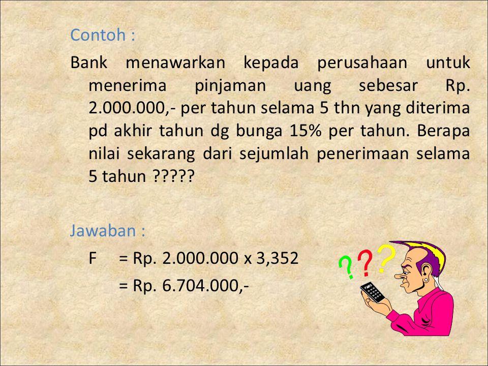 Contoh : Bank menawarkan kepada perusahaan untuk menerima pinjaman uang sebesar Rp. 2.000.000,- per tahun selama 5 thn yang diterima pd akhir tahun dg