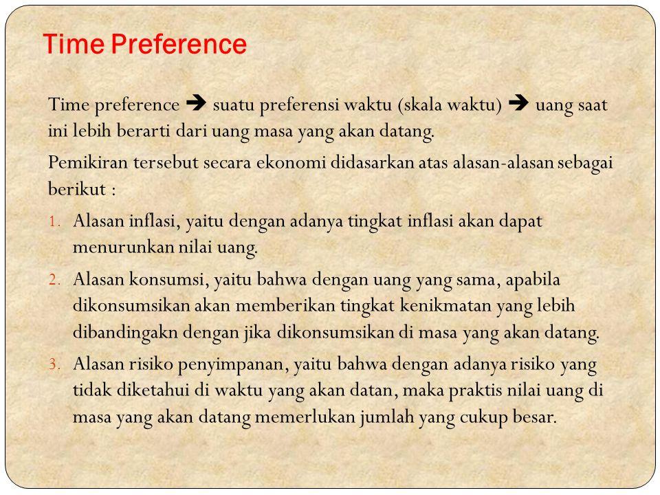 Time Preference Time preference  suatu preferensi waktu (skala waktu)  uang saat ini lebih berarti dari uang masa yang akan datang.