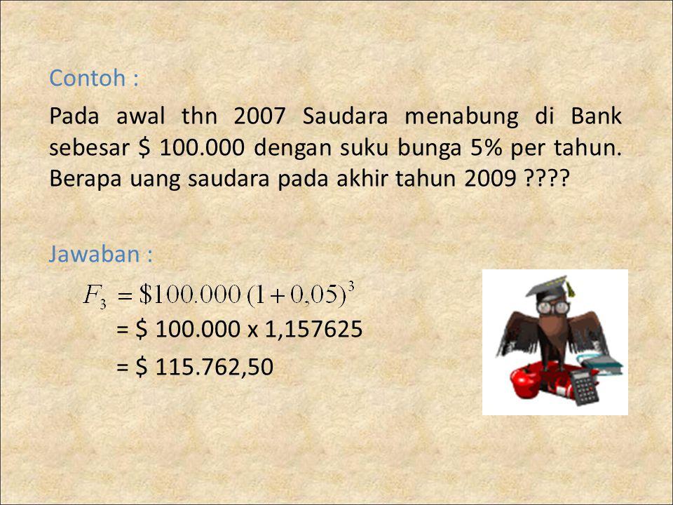 Contoh : Pada awal thn 2007 Saudara menabung di Bank sebesar $ 100.000 dengan suku bunga 5% per tahun. Berapa uang saudara pada akhir tahun 2009 ????