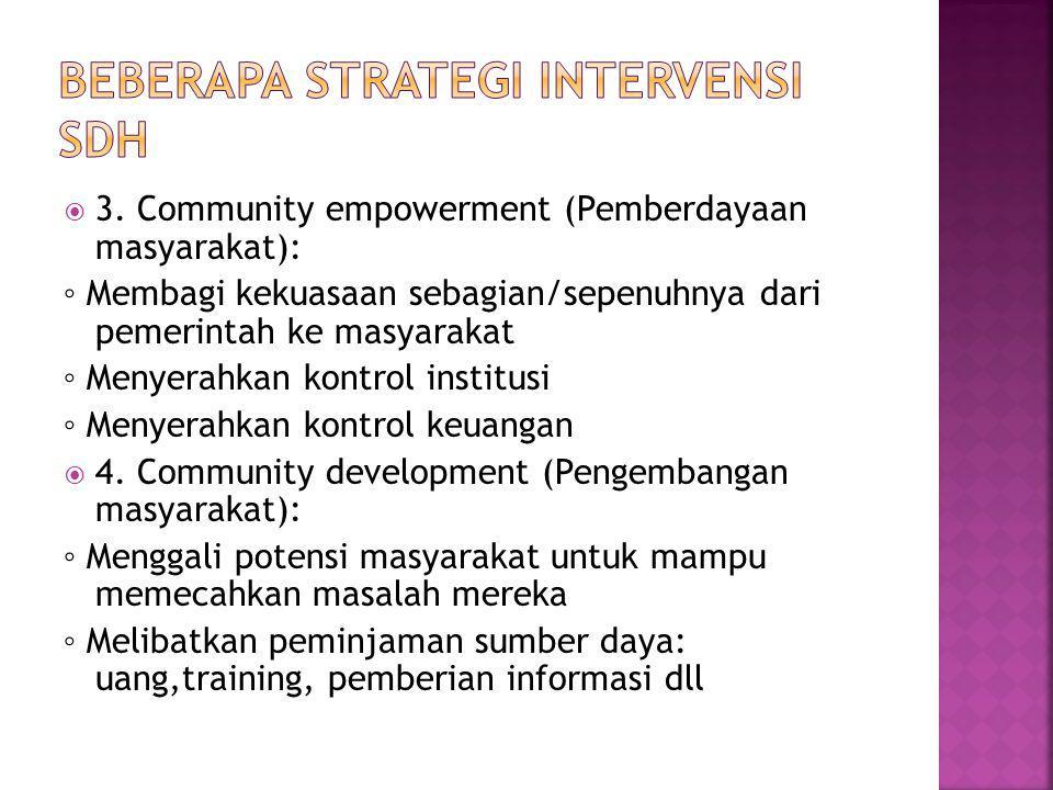  3. Community empowerment (Pemberdayaan masyarakat): ◦ Membagi kekuasaan sebagian/sepenuhnya dari pemerintah ke masyarakat ◦ Menyerahkan kontrol inst