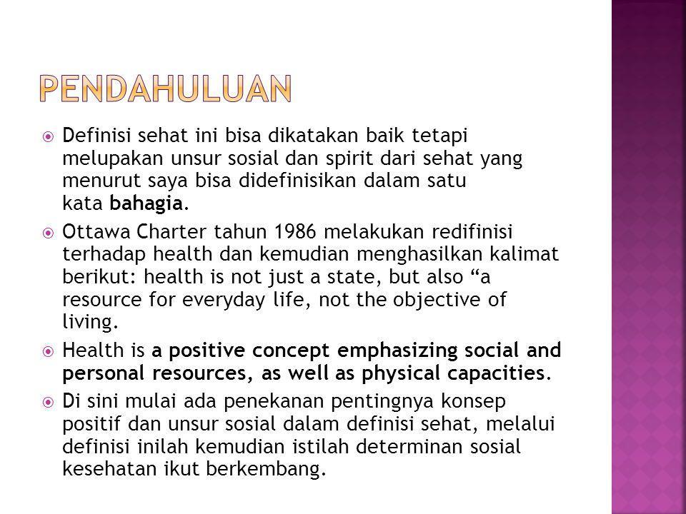 Definisi sehat ini bisa dikatakan baik tetapi melupakan unsur sosial dan spirit dari sehat yang menurut saya bisa didefinisikan dalam satu kata bahagia.