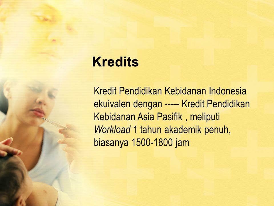 Kredits Kredit Pendidikan Kebidanan Indonesia ekuivalen dengan ----- Kredit Pendidikan Kebidanan Asia Pasifik, meliputi Workload 1 tahun akademik penuh, biasanya 1500-1800 jam
