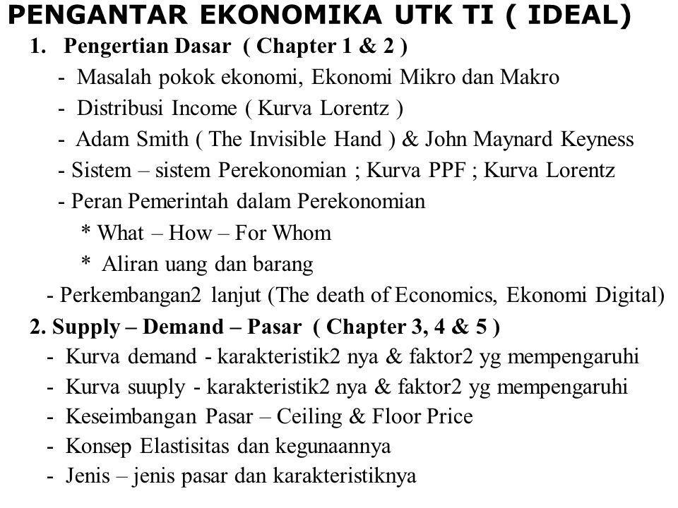PENGANTAR EKONOMIKA UTK TI ( IDEAL) 1.Pengertian Dasar ( Chapter 1 & 2 ) - Masalah pokok ekonomi, Ekonomi Mikro dan Makro - Distribusi Income ( Kurva Lorentz ) - Adam Smith ( The Invisible Hand ) & John Maynard Keyness - Sistem – sistem Perekonomian ; Kurva PPF ; Kurva Lorentz - Peran Pemerintah dalam Perekonomian * What – How – For Whom * Aliran uang dan barang - Perkembangan2 lanjut (The death of Economics, Ekonomi Digital) 2.