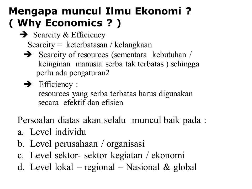 Mengapa muncul Ilmu Ekonomi .( Why Economics .