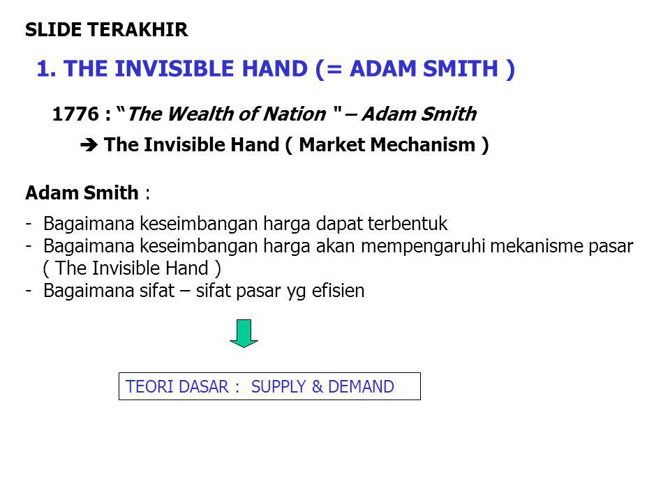 "1776 : ""The Wealth of Nation "" – Adam Smith  The Invisible Hand ( Market Mechanism ) Adam Smith : - Bagaimana keseimbangan harga dapat terbentuk - Ba"
