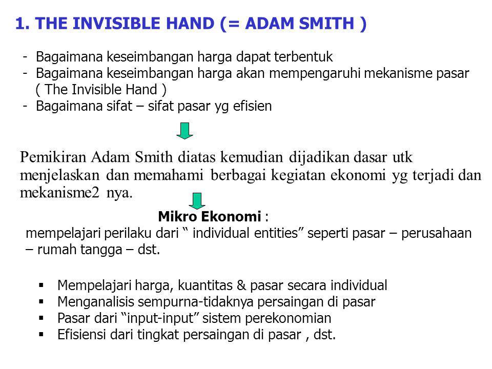 - Bagaimana keseimbangan harga dapat terbentuk - Bagaimana keseimbangan harga akan mempengaruhi mekanisme pasar ( The Invisible Hand ) - Bagaimana sifat – sifat pasar yg efisien Pemikiran Adam Smith diatas kemudian dijadikan dasar utk menjelaskan dan memahami berbagai kegiatan ekonomi yg terjadi dan mekanisme2 nya.