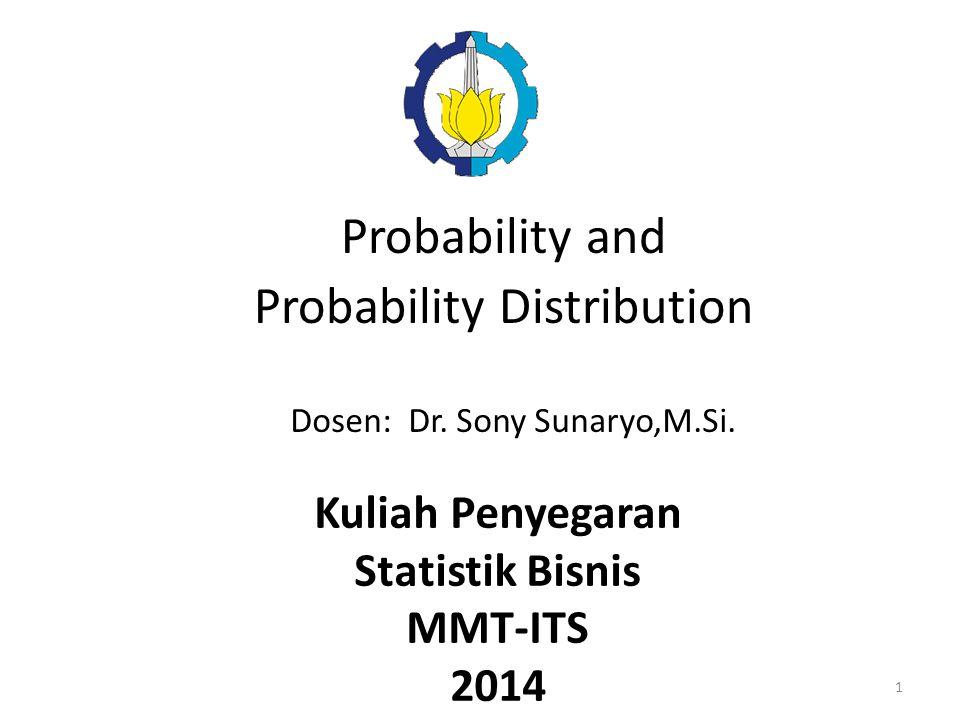 Probability and Probability Distribution Dosen: Dr. Sony Sunaryo,M.Si. Kuliah Penyegaran Statistik Bisnis MMT-ITS 2014 1